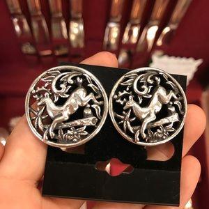 Sarah Coventry Reindeer Filigree Earrings