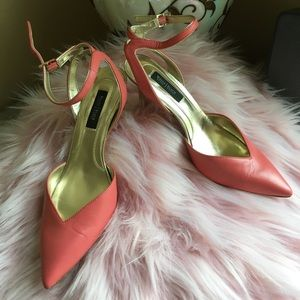 Leather coral pumps