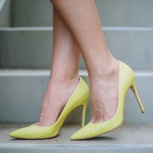 Gianvito Rossi yellow green pumps