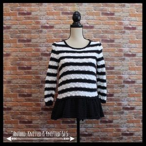 Anthropologie Knitted & Knotted Peplum Sweater