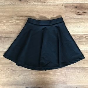 High Waisted Black Skater Skirt