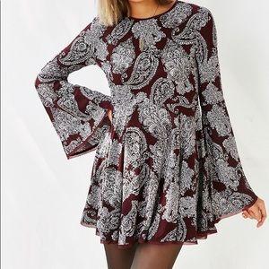 Burgundy and White Mini Dress