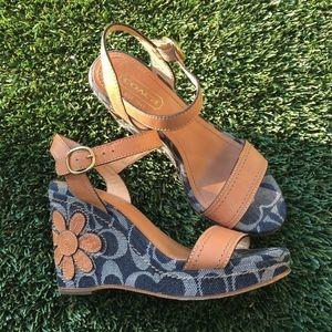 Rare/Htf Coach C logo Denim flower wedge sandals