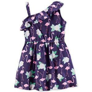 Carter's One-Shoulder Flamingo Dress NWT