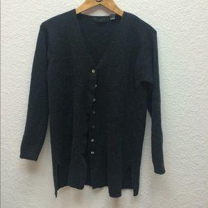 Gap 100% merino charcoal cardigan with side slits