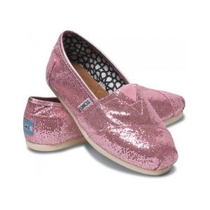 TOMS pink sparkly glitter shoes