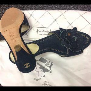 Chanel blue denim camellia flower sandals