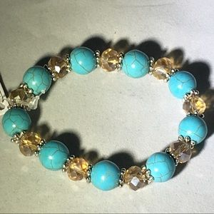 Turquoise and light brown bracelet