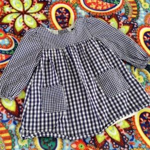 Baby Gap Blue Checkered Dress Sz 12-18M White