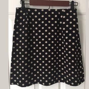 Banana Republic Polka Dot Skirt Black & Beige Sz 6
