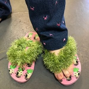 Vintage Shoes - Hula Girl Hawaiian Flip Flop Grass