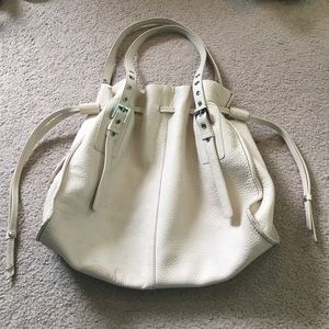 Nordstrom White Tote/Purse Leather Drawstring