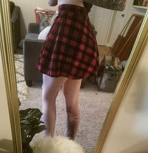 Red and Black Plaid Skater Skirt🕸