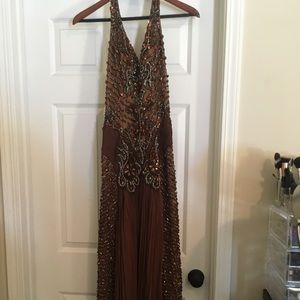 Dresses & Skirts - Long beaded prom dress- brown