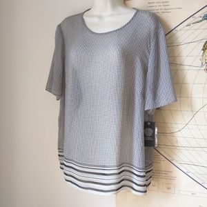 Vince Camuto NWT sheer blouse gray B&W XL
