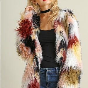 LAST ONE SMALL Multi Colored Open Front Jacket