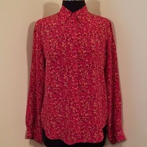 Vintage Red Silk Paint Splotch Blouse, Small