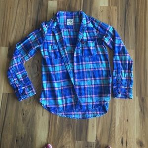 Hollister blue, teal and pink flannel