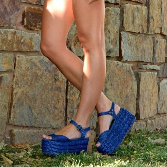 Jeffrey Campbell Shoes - Jeffrey Campbell blue platform sandals