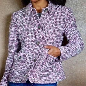 TALBOTS Petite Purple Tweed Pea Coat