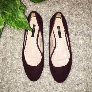 BDG • Maroon felt flats with wood base