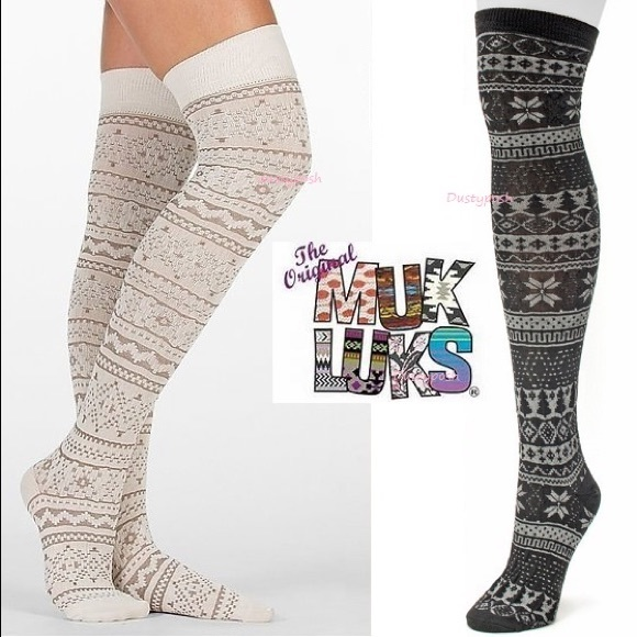 fc9b5ea4805 Muk Luk Over The Knee Socks Fair lsle Thigh High