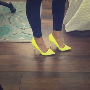 Neon patent leather heels