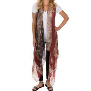 Jackets & Blazers - NWOT Distressed American Flag Drape Vest