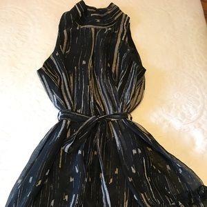Black & tan sheer dress