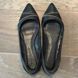 Banana Republic Black Pointy Toe Zipper Flats 7.5