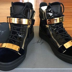 GIUSEPPE ZANOTTI Leather/Velvet High-Top Sneakers