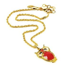 Red & Gold Owl Pendant Necklace