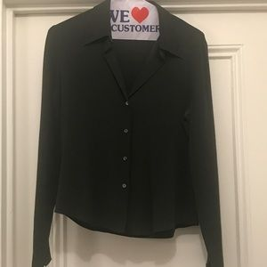 Banana Republic Olive Green Silk Stretch Blouse