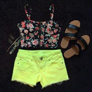 💛Neon Yellow Short Denim Shorts💛