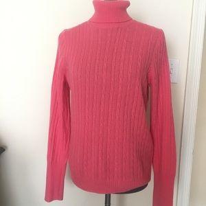 J Crew merino blend cable knit turtleneck sweater