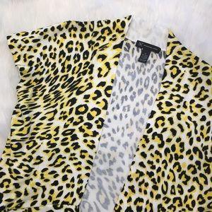 Yellow Leopard Cheetah Tie Front Cardigan XL