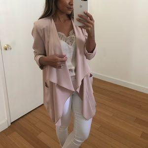 Blush pink waterfall jacket