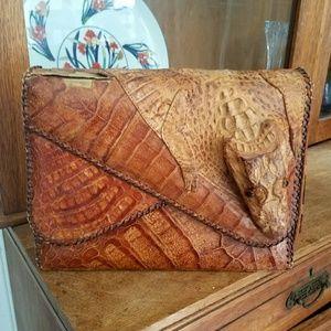 VINTAGE 50s Rare Full Body Alligator Handbag