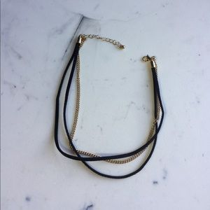 Gold and Black Suede Choker Necklace