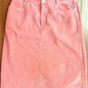 Pink • Banana Republic • corduroy midi skirt