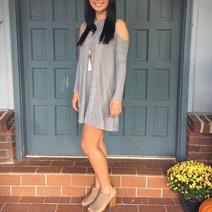 Women's cold shoulder sweater dress