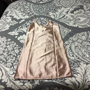 Satin gold slip dress