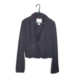 Free People Black Knit Lace & Satin Blazer Jacket