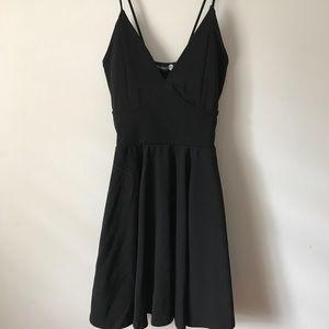 Black spaghetti strap v neck dress