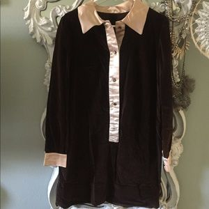 Vintage Chocolate Velvet Mini Dress