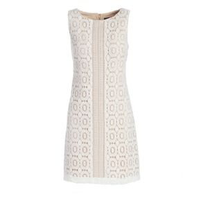 Ivory & Beige Geometric Lace Sheath Dress