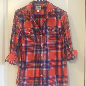 Red/orange and blue flannel