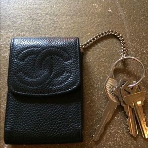 Chanel black coin purse keyring cc logo