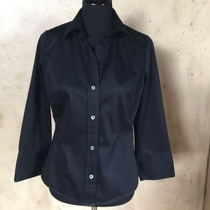 Black button down fitted Blouse