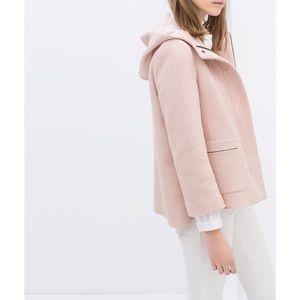 Zara Blush Hooded Zip Up Coat